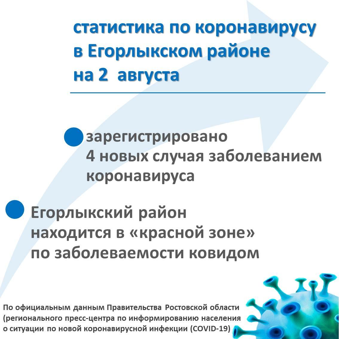 Статистика по коронавирусу в Егорлыкском районе на 2 августа